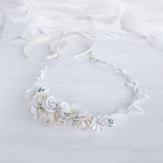 Floral crown made with white roses, hydrangea, buttercups and babys breath flowers. Due to the flexible design of wreath individually adapts to the shape of the head. Length 38 cm / 14.8 inches. -------------IMPORTANT TO READ------------- Waiting list is full now. This item will be