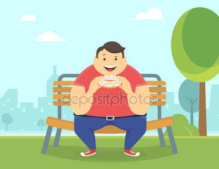 Szczęśliwy człowiek tłuszczu jedzenie duży pączek w parku — Ilustracja stockowa #94459196