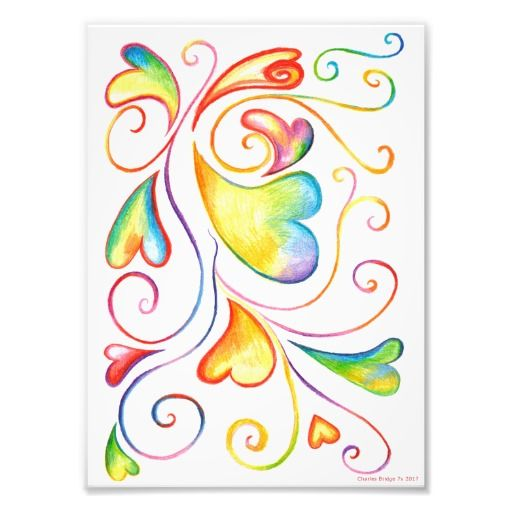 Colorful Valentine Spirals Print