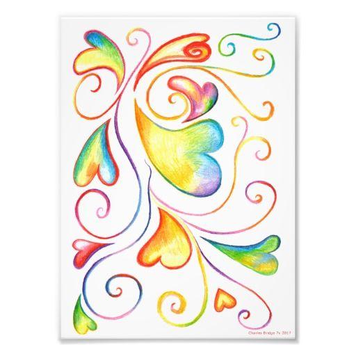 Colorful Valentine Spirals Print