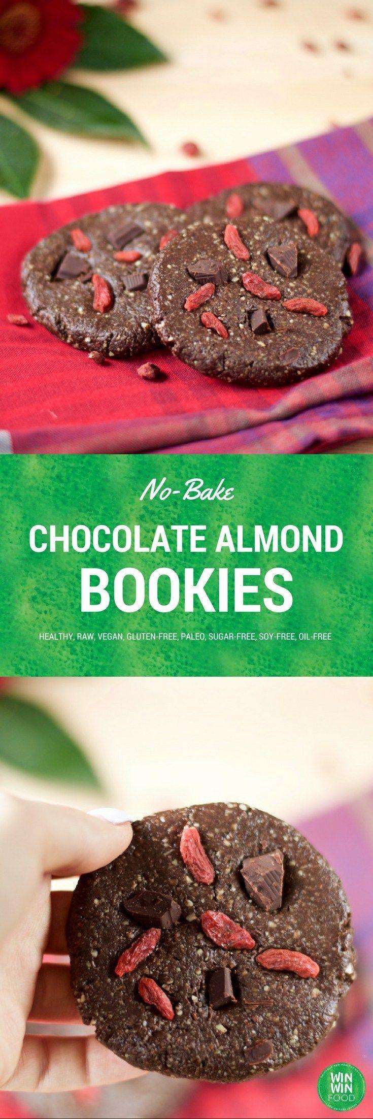 No-Bake Chocolate Almond Cookies   WIN-WINFOOD.com #healthy #vegan #glutenfree…
