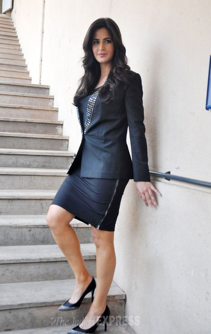 Katrina Kaif looked lovely in a black skirt teamed with a sequined jacket at the Mehboob studios for the media interactions of her movie 'Bang Bang'.