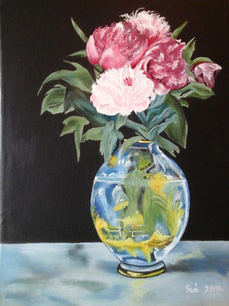 created by: Kovácsné Sz. Éva - Peony, oil, 30x40 cm canvas (Original painting: Manet - flowers)