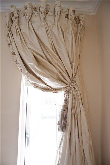 Window Treatment, could do with one of the shower curtain rods the turn outward