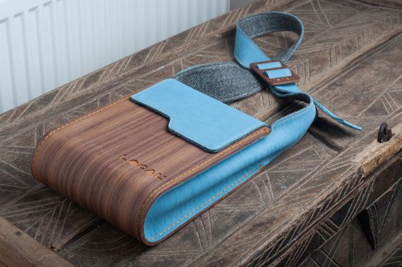 Wood and genuine leather Ipad bag Handmade by OldishButGoldish