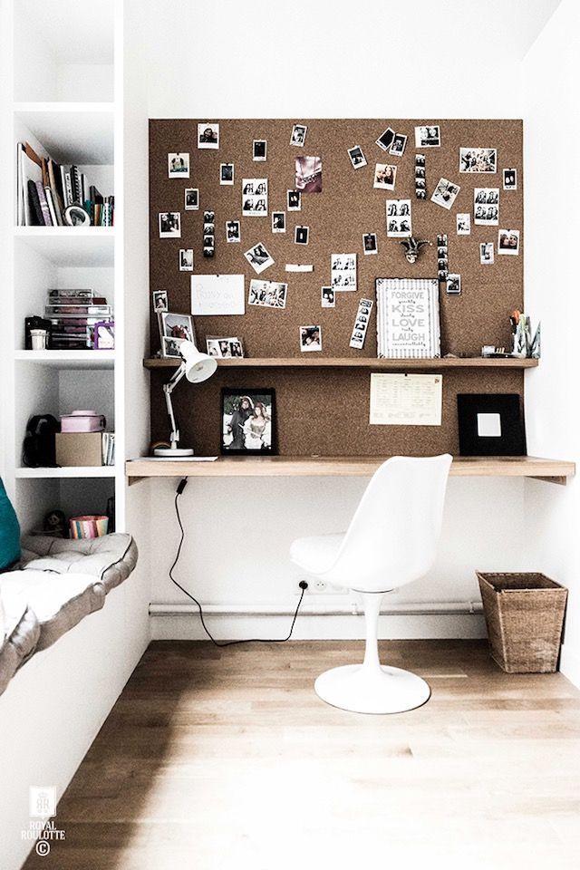 Cork board, built ins, white mid century modern chair, Scandinavian style home office