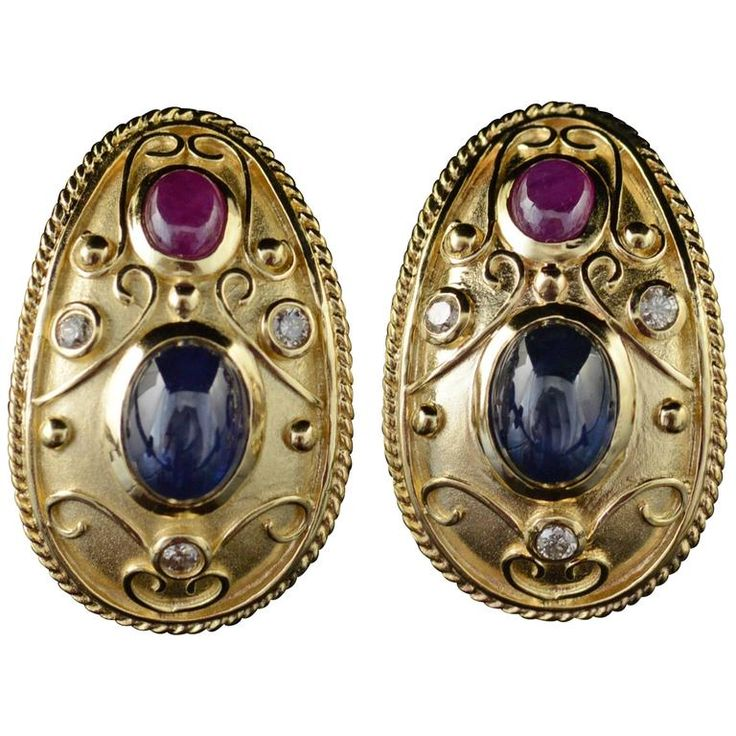 2.60 Carat Total Weight Sapphire Ruby Diamond Gold French Clip Earrings  1
