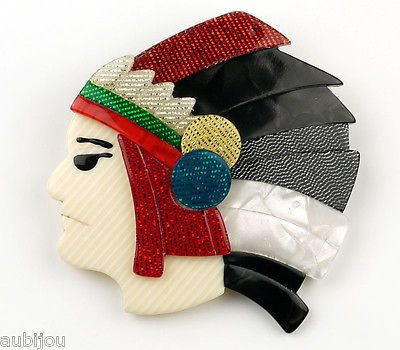 LEA-STEIN-FIGURAL-INDIAN-CHIEF-MAN-HEAD-WESTERN-BROOCH-PIN-FRENCH-PLASTIC-PARIS