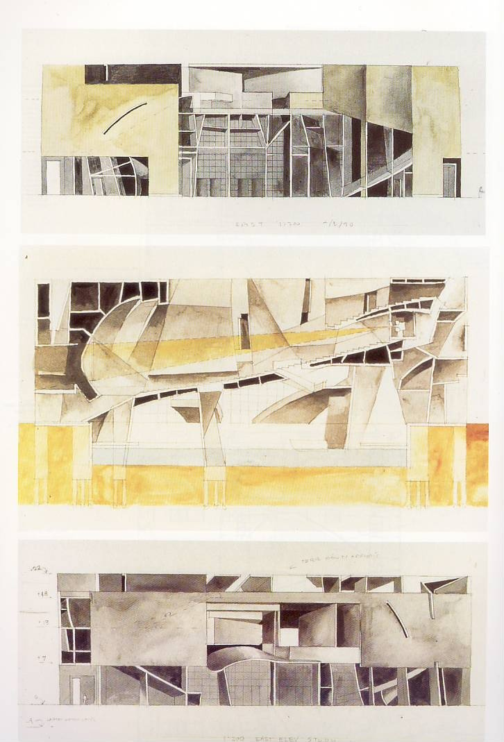 Steven Holl, watercolour elevations and sectional renderings.