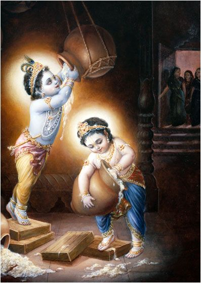 Krishna and Balarama would sometimes steal butter from the gopis homes. While the gopis were engaged in their household duties, Krishna and Balarama would enter a dark room and light the room with the glittering jewels on their bodies. Then they would pile wooden planks to reach the butter pots hanging high from the ceiling.