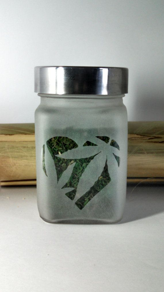 Pot Leaf Heart Etched Glass Stash Jar  Medical by Twisted420Glass Stash Jar, Glass Jar, 420, Glass Pipe, Bong, Bongs, Air Tight,  710, oil, Hash oil, Cannabis, Weed, Marijuana, Stash