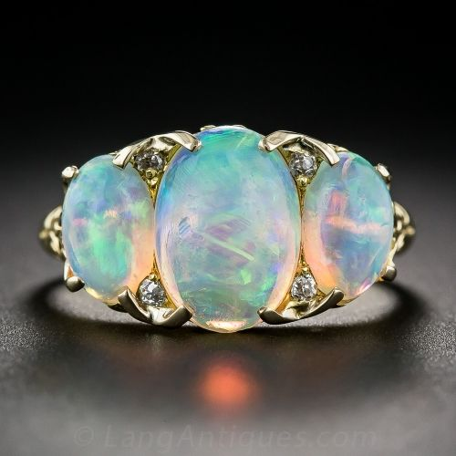 Antique Three-Stone Opal Ring