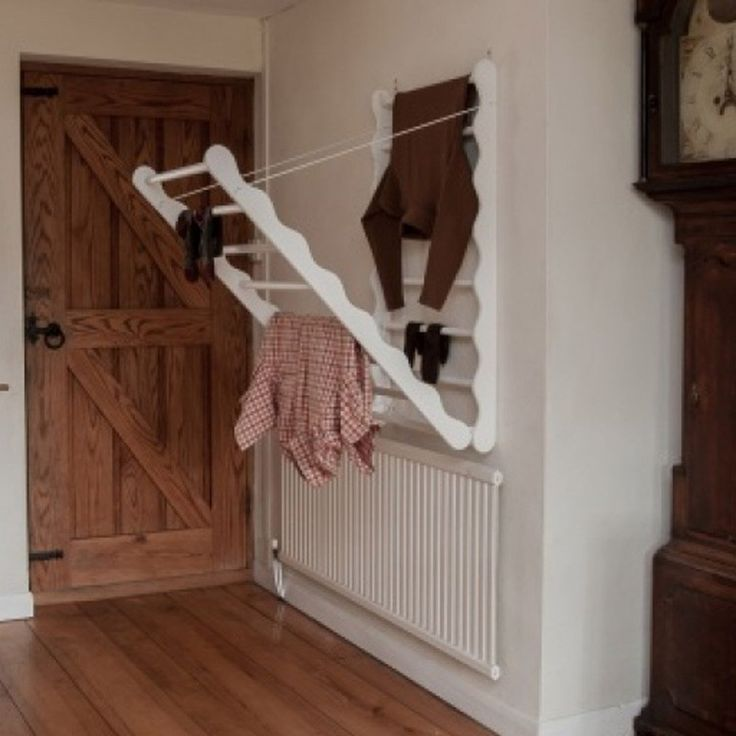 Wall Mounted Wooden Clothes Airer - White