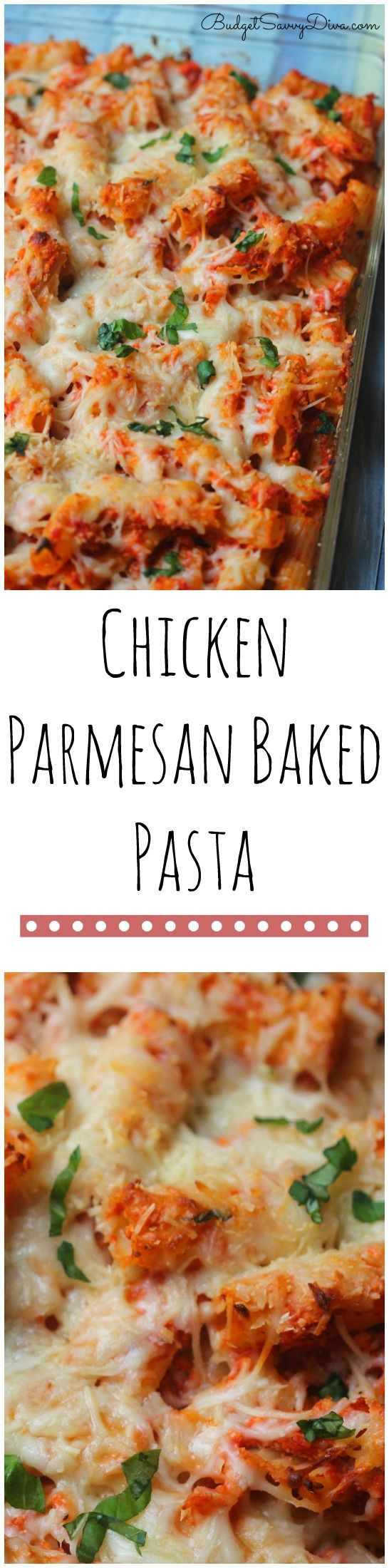 Chicken Parmesan Baked Pasta Recipe from Budget Savvy Diva