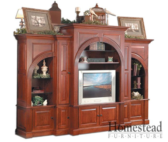 Grand Fluted Arch Entertainment Center By Homestead Furniture Made In Amish  Country.