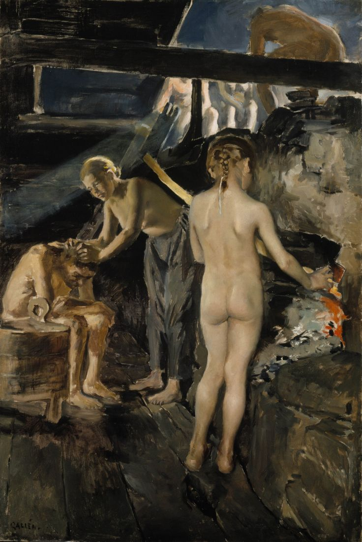 In the sauna  - Akseli Gallen-Kallela