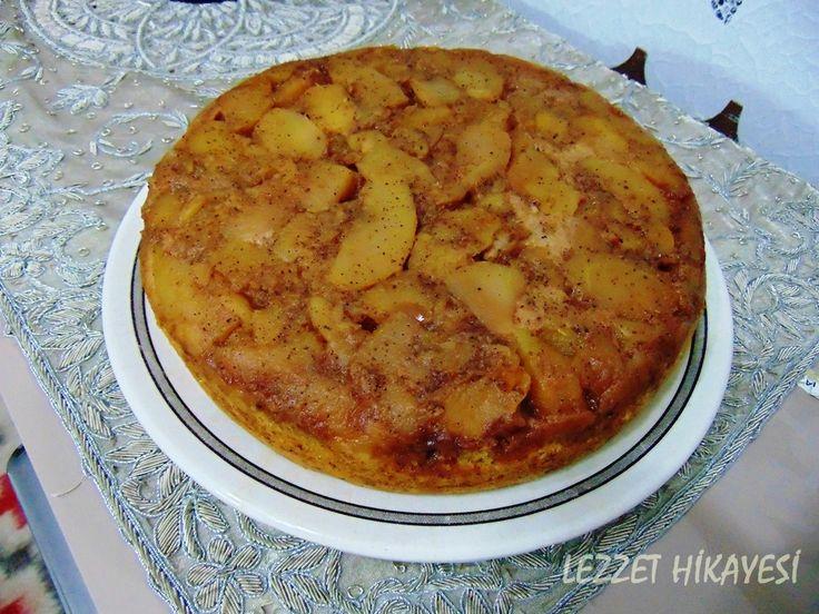 Elmalı Ters Yüz Kek elmalı kek ters yüz kek tarçınlı kek hamur işleri