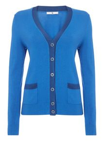 Blue Shine Trim V Neck Cardigan