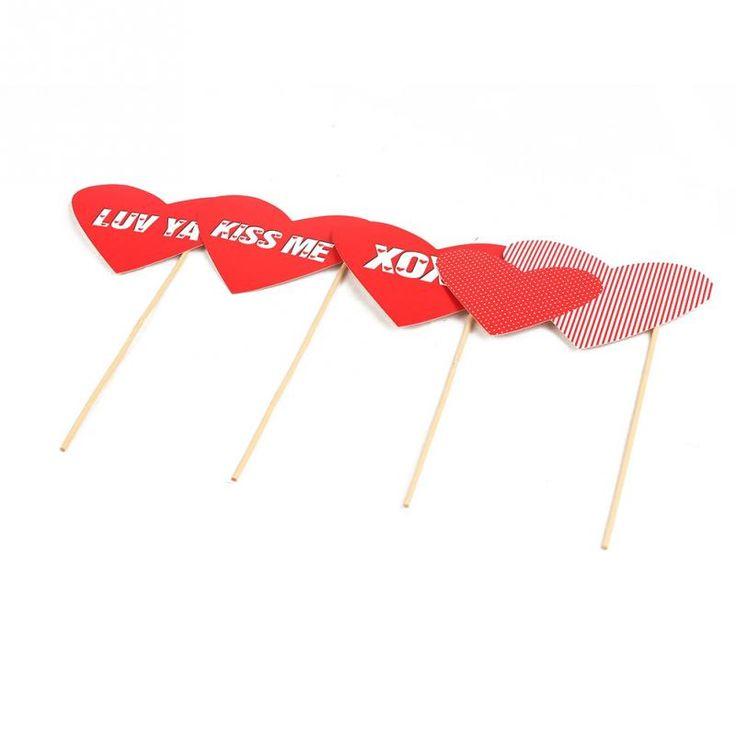 1set / 33pcs Photo Booth Rekwizyty Moustache Miłość Maska na patyku Na Wesele Valentine Favor Gift