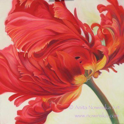 Razzamatazz Red parrot tulip Original art Art, painting, flower, red, flower painting, artist