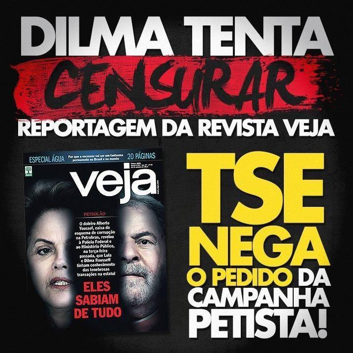 A traidora da nação >>> Dilma tentou censurar a veiculação da VEJA, mas o TSE NEGOU! #VotoAecioPeloBR45IL #ForaPT