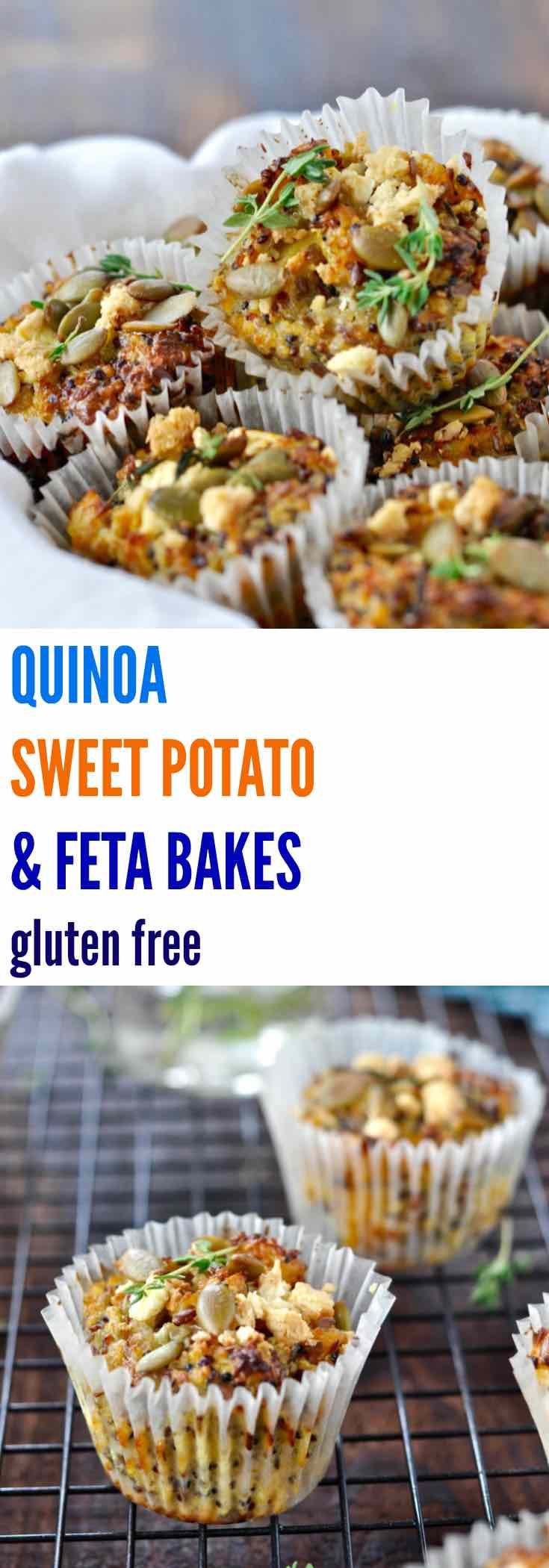 These healthy QUINOA, SWEET POTATO & FETA BAKES are gluten free and freeze…