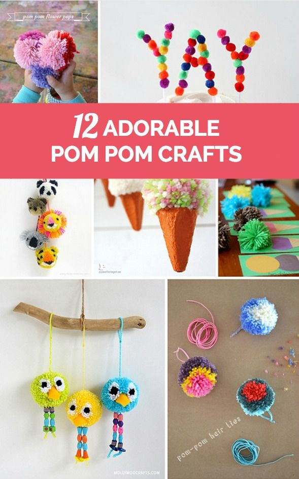 12 Simple And Adorable Pom Pom Projects Pom Pom Crafts Craft Activities For Kids Crafts
