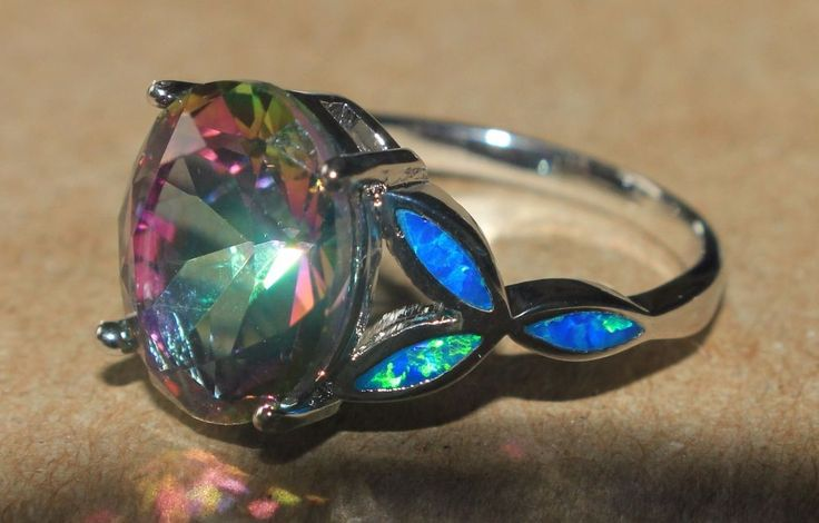 blue fire opal mystic topaz ring silver jewelry Sz 7.5 modern engagement style G #Cocktail