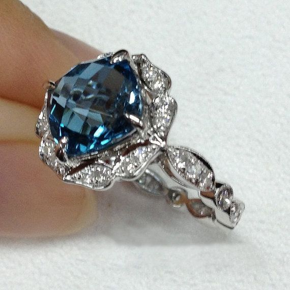 london blue topaz engagement ring 8mm 31ct cushion by intheicebox - Blue Topaz Wedding Rings