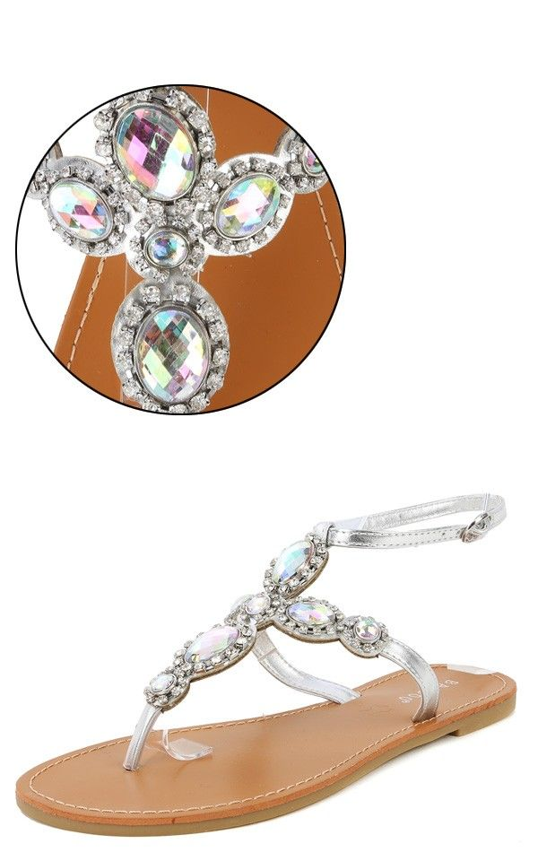 Bamboo Sequoia-18 Metallic Gem Sandals SILVER - perfect for night time dining at Sheraton Sand Key, Clearwater Beach