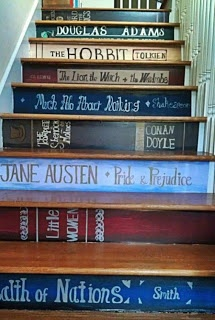 first stair = harry poter philosophers stone, last stair = deathly hallows. tolkien, nix, salinger etc all in the middle :)