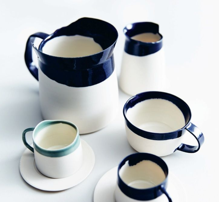 Porcelain tea set with uneven and asymmetrical edges; handmade and crafted in London, UK