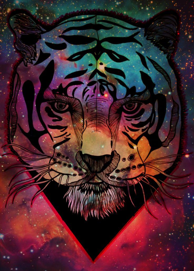 Ilustração de tigre com textura de galáxia