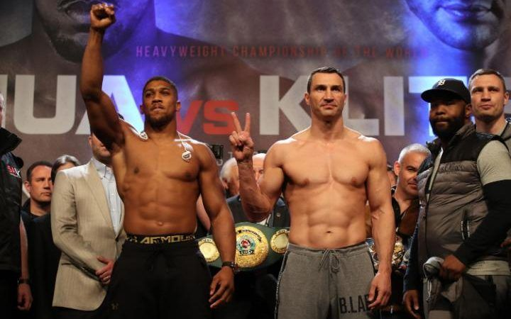 FOLLOW AND SHARE ANTHONY JOSHUA VS. WLADIMIR KLITSCHKO WEIGH-IN VIDEO Anthony Joshua weighs in at 250.1 lb. Wladimir Klitschko weighs in at 240.5 lb. FOLLOW US ON TWITTER: @REALCOMBATMEDIA LIKE US ON FACEBOOK: REALCOMBATMEDIA SPONSORED LINKS Discount UFC Tickets Discount Boxing Tickets FOLLOW AND SHARECOMMENTS COMMENTS@REALCOMBATMEDIA - Editorial StaffEditor in ChiefWe are the Editorial staff …