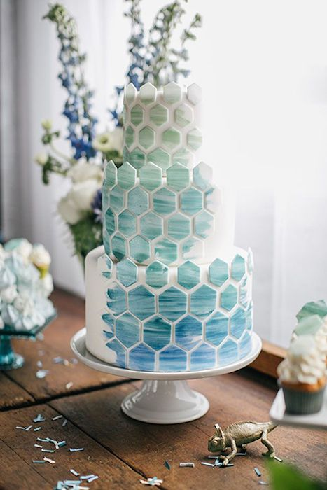 Ombre hexagon cake in shades of the ocean. Source: Emily Wren Photography. #beachwedding #ombrecake #mosaic