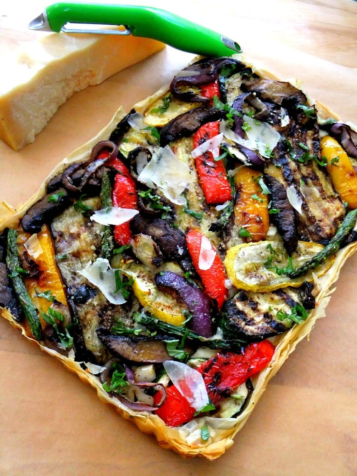 Grilled Vegetable Filo Tart: Grilled Veggies, Veggies Tarts, Amazing Recipes, Vegetables Tarts, Italian Cooking, Roasted Vegetables, Grilled Vegetables, Phyllo Dough, Grilled Recipes