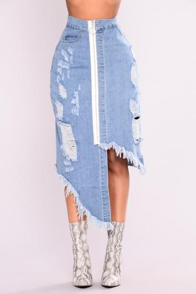 Gweneth Denim Midi Skirt - Medium Blue Wash
