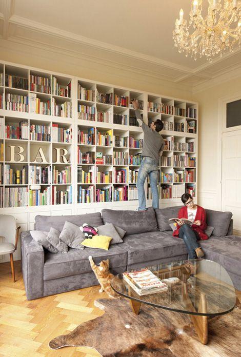 Stacked Ikea 'Kallax/Expedit' shelves