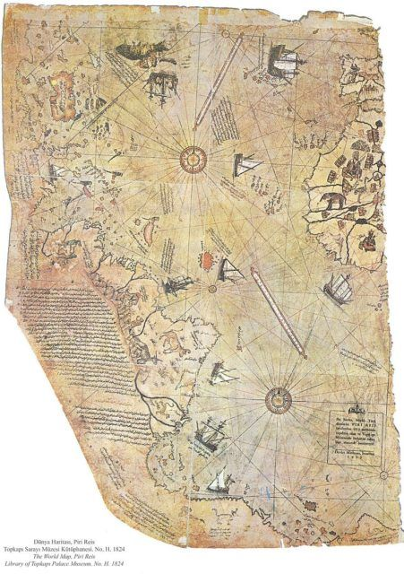 Surviving fragment of the Piri Reis map showing Central and South America…