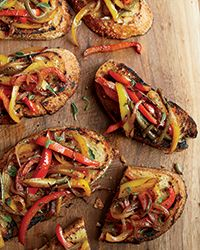 Mario Batali tops crisp, garlic-rubbed bread with tender, sweet peppers enlivened with chiles and anchovy paste. Slideshow: More Bruschetta and Crostini Recipes