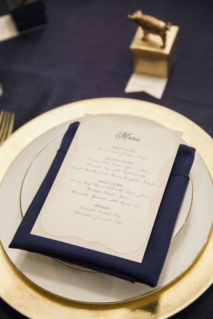 落ち着いた大人の式にしたい♡エレガントな結婚式にしたい♡ネイビーのメニュー表まとめ一覧♡