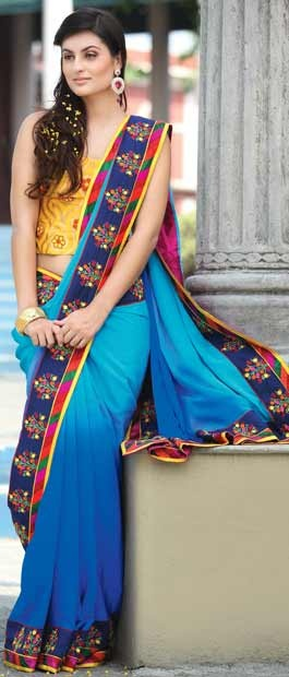 Shaded Blue Jacquard Saree with Blouse | $225.76