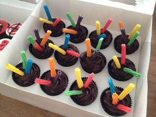 Laser Tag Theme Cupcakes: those are pieces of Twizzlers with toothpicks inside for support.