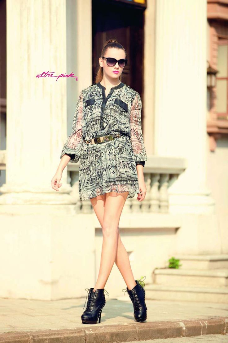 Ultrapink Shirt Dress  Printed with PU trims. Elasticated Waist, lined.  Check out on ultrapinkshop.com