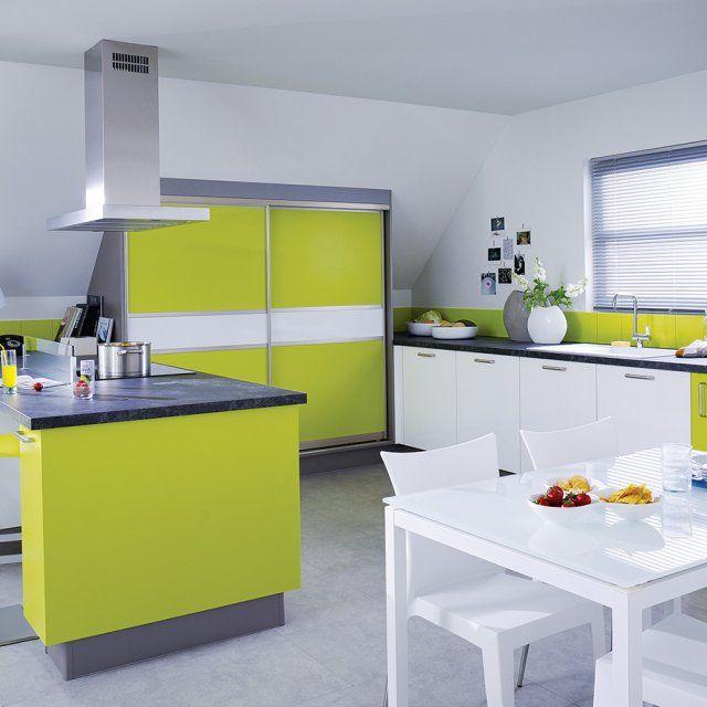 Cuisine vert pomme ultra contemporaine, Cuisinella - Marie Claire Maison