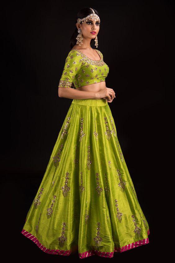 Chartreuse Darpan Gota Lehenga Banjara Model: Sakshi Photography: Akshay Rao Photography <br> Jewellery: Kalasha Fine Jewels <br> Mrunalini Rao 26 July 2017