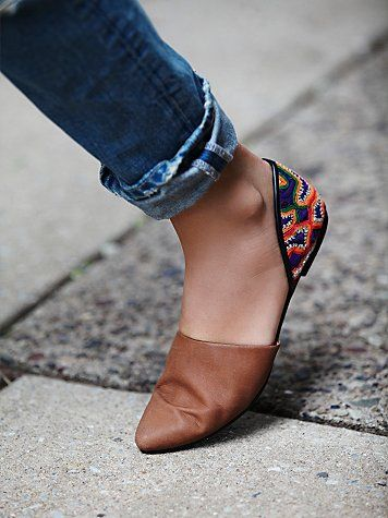 Rajah Flat | Leather pointy toe flats with embellished heels and cool exposed sides.  *By Free People