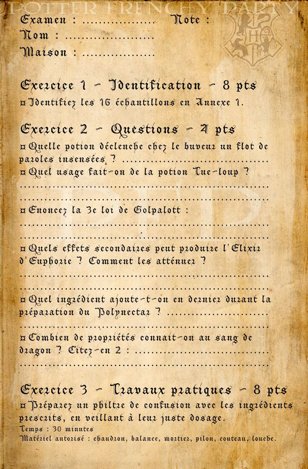 Potter frenchy party - Visuels et illustration Harry Potter sur le web - 11 - Severus Rogue / Snape - printables, props, illustrations - cours de potions à Poudlard - contrôle - examen - hogwarts magic books