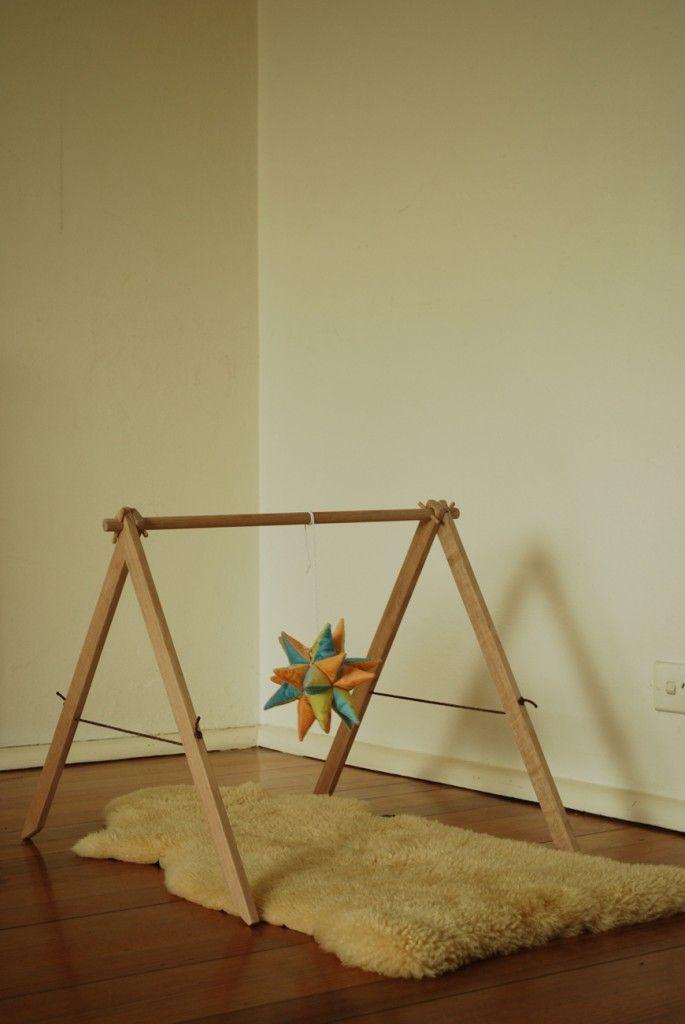 Handmade Babygym using Tasmanian oak and cord.