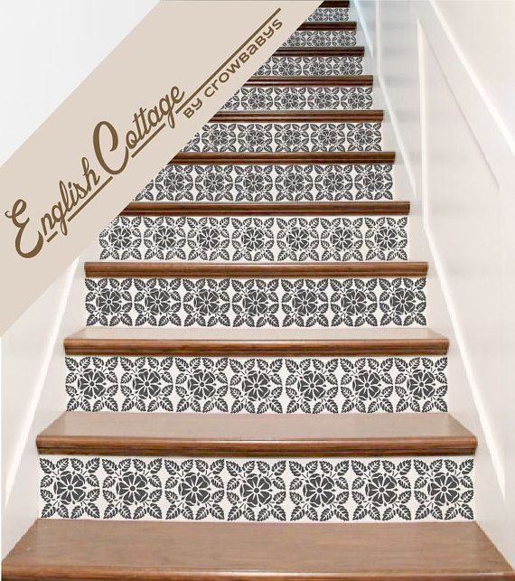 Carved Wood Stair Risers Stair Ideas Stamped Leather: Stair Decals . English Cottage Vinyl Staircase Steps Decor